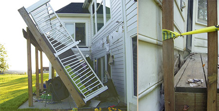 improper fastening to house and deck collapsed